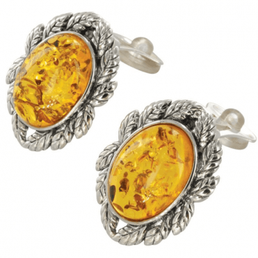 Ladies Shipton and Co Exclusive Silver and Oval Amber Leaf Border Clip Earrings TAS026AB