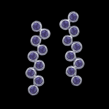 Ladies Shipton and Co Exclusive Silver and Nine 3mm Round Amethyst Moveable Drop Earrings EQA101AM