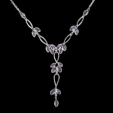 Ladies Shipton and Co Exclusive Silver and Amethyst Necklace NQA200AM