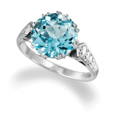 Ladies Shipton and Co Exclusive Silver and Blue Topaz Ring RQ0105BT