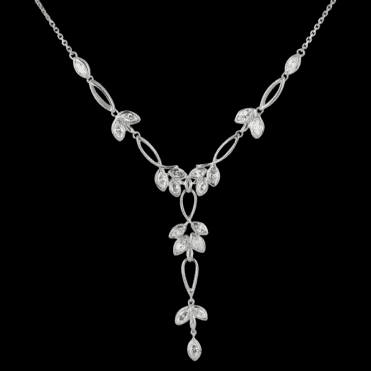 Ladies Shipton and Co Exclusive Silver and Cubic Zirconia Necklace NQA200CZ1