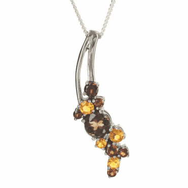 Ladies Shipton and Co Exclusive Silver and Multiple Stone Pendant including a 16 Silver Chain PQA308MU8