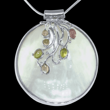 Ladies Shipton and Co Exclusive Silver and Multiple Stone Pendant including a 16 Silver Flexisnake Chain TTL029MU