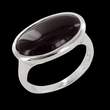 Ladies Shipton and Co Silver and Onyx Ring TSN014ON