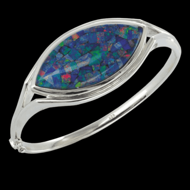 Ladies Shipton and Co Silver and Opal Mosaic Triplet Bangle GQA258OT