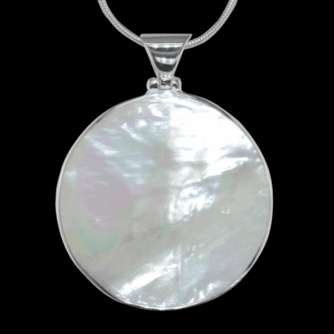Ladies Shipton and Co Exclusive Silver Large Round Mother of Pearl Pendant including a 16 Silver Flexisnake Chain TKW041PM
