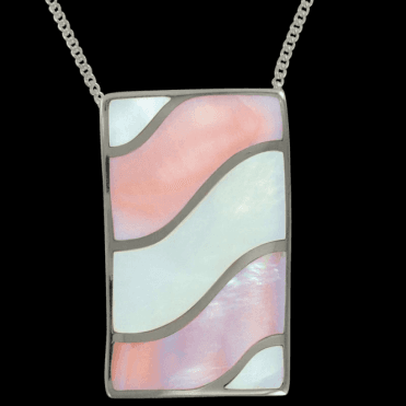 "Ladies Shipton and Co Exclusive Silver Waves Pink and White Mother of Pearl Pendant including a 16"" Silver Chain  TKW114PM"