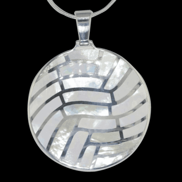 "Ladies Shipton and Co Exclusive Silver Mosaic Circle Mother of Pearl Pendant including a 16"" Silver Flexisnake Chain TKW116PM"