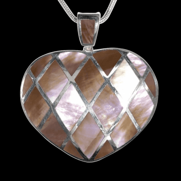 "Ladies Shipton and Co Exclusive Silver Harlequin Heart Mother of Pearl Pendant including a 16"" Silver Flexisnake Chain TKW241PM"
