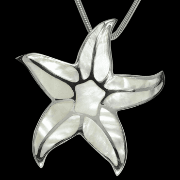 Ladies Shipton and Co Exclusive Silver White Mosaic Starfish Mother of Pearl Pendant including a 16 Silver Flexisnake Chain TKW357PM