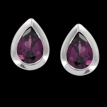 Ladies Shipton and Co Exclusive Silver Pearshaped Rhodolite Garnet Earrings EQA016RH