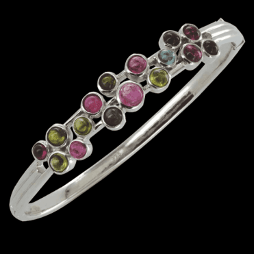 Ladies Shipton and Co Silver and Tourmaline Bubbles Bangle GQA254TT