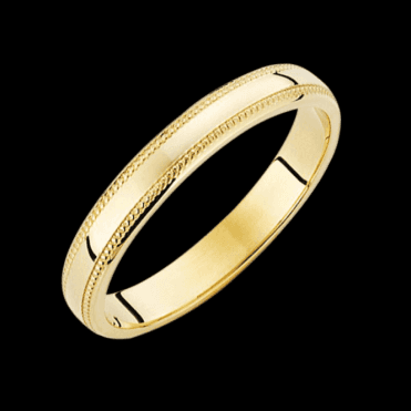 Ladies Shipton and Co 9ct Yellow Gold 3mm D Millgrain Ring TST002NS