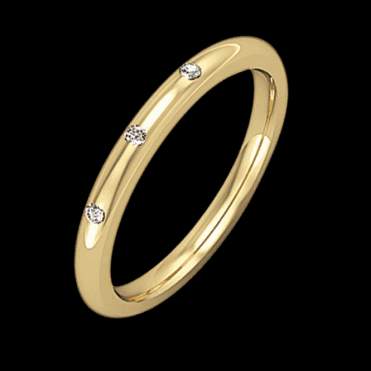 Ladies Shipton and Co 18ct Yellow Gold 2mm Trilogy Diamond Wedding Ring TST038DI