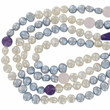 "72"" String of Pearls & Precious Gemstones"