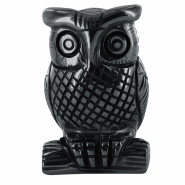 Ladies Shipton and Co  2 Hematite Owl Carving CMH005HM