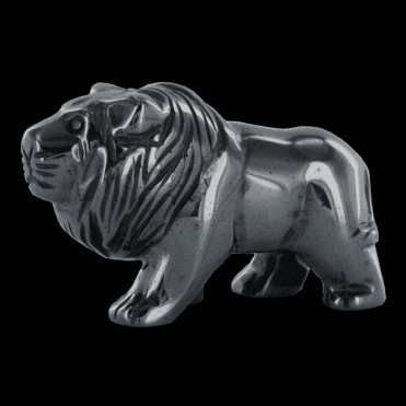 "Ladies Shipton and Co 2"" Hematite Lion Carving CMH010HM"