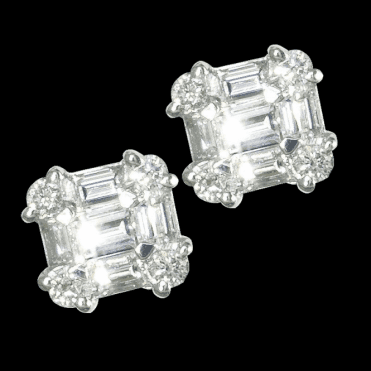 Ladies Shipton and Co Exclusive 18ct White Gold 86pt Castle Diamond Earrings TFL496DI