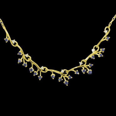 Ladies Shipton and Co Exclusive 9ct Yellow Gold Blue Sapphire and Diamond Springs Necklace NYD009BSD