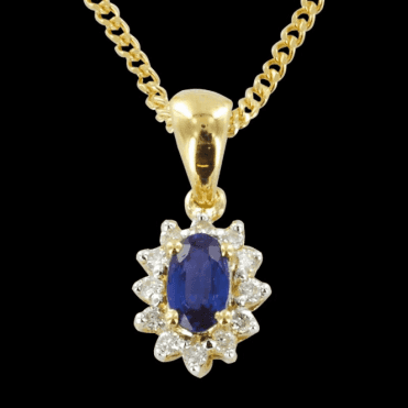 Ladies Shipton and Co Exclusive 9ct Yellow Gold Classic Cluster Blue Sapphire Pendant including a 16 9ct Chain PYD061BSD