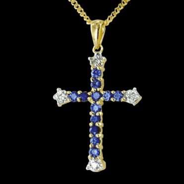 Ladies Shipton and Co Exclusive 9ct Yellow Gold Blue Sapphire And Diamond Angustine Pendant including a 16 9ct Chain PYD062BSD