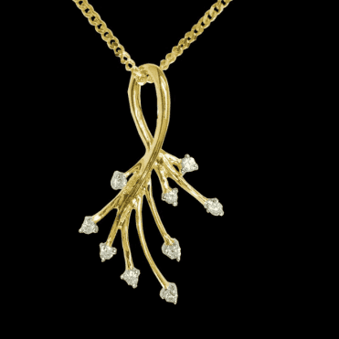 Ladies Shipton and Co Exclusive 9ct Yellow Gold Diamond Shower Pendant including a 16 9ct Chain PYD031DI