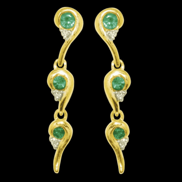 Ladies Shipton and Co Exclusive 9ct Yellow Gold Enigma Emerald and Diamond Drop Earrings EYD005EMD