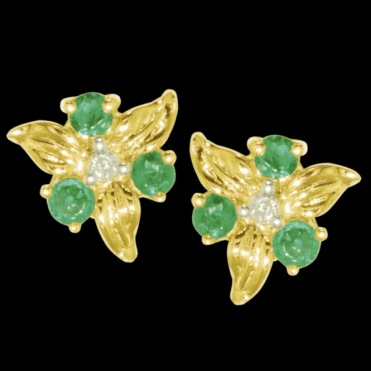 Ladies Shipton and Co Exclusive 9ct Yellow Gold Emerald and Diamond Flower Stud Earrings EYD016EMD
