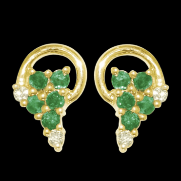 Ladies Shipton and Co Exclusive 9ct Yellow Gold Diamond and Emerald Circle and Grapes Earrings EYD025EMD