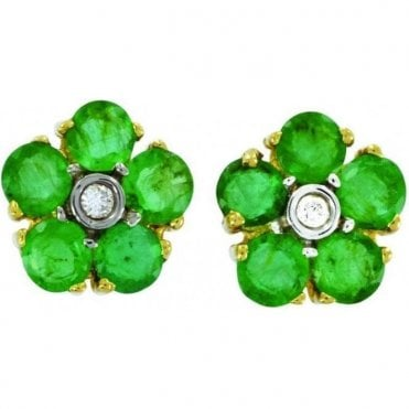 Ladies Shipton and Co Exclusive 9ct Yellow Gold Diamond and 5 Emerald Cluster Earrings TPL117EMD