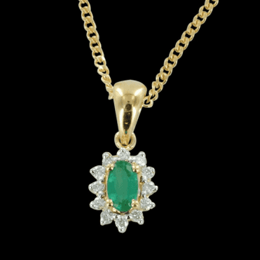 "Ladies Shipton and Co Exclusive 9ct Yellow Gold Classic Cluster Emerald  Pendant including a 16"" 9ct Chain  PYD061EMD"