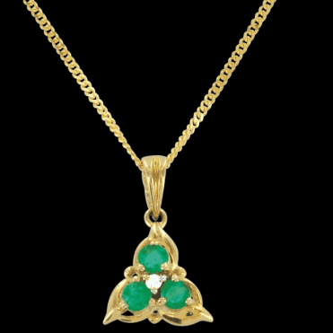 Ladies Shipton and Co Exclusive 9ct Yellow Gold Diamond and Emerald Triangluar Pendant including a 16 9ct Chain TPL146EMD