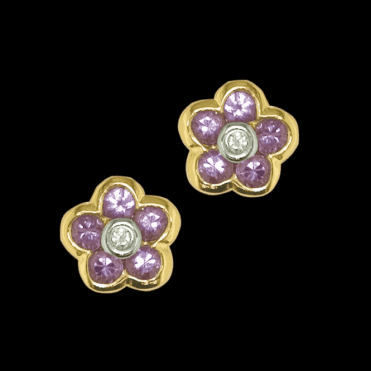 Ladies Shipton and Co Exclusive 9ct Yellow Gold Diamond and Pink Sapphire Stud Earrings TPL044PSD