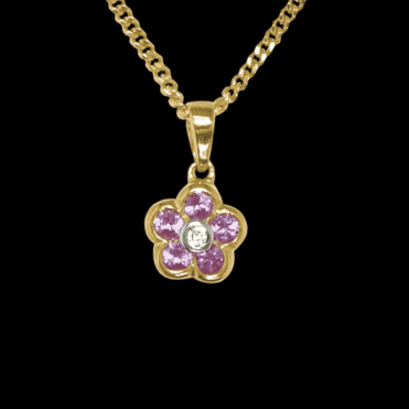 Ladies Shipton and Co Exclusive 9ct Yellow Gold Diamond and Pink Sapphire Flower Pendant including a 16 9ct Chain TPL048PSD