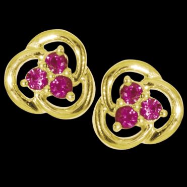 Ladies Shipton and Co Exclusive 9ct Yellow Gold Anam Cara Ruby Earrings EYD022RU