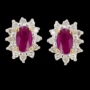 Ladies Shipton and Co Exclusive 9ct Yellow Gold Cluster Ruby Earrings EYD061RUD