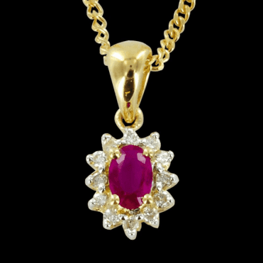 Ladies Shipton and Co Exclusive 9ct Yellow Gold Diamond and Ruby Clsuter Pendant including a 16 9ct Chain PYD061RUD
