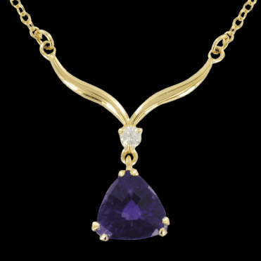 Ladies Shipton and Co Exclusive 18ct Yellow Gold Diamond and Amethyst Trilliant Horn Necklace S08071AMD