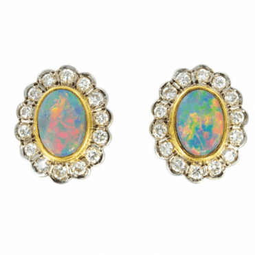Ladies Shipton and Co Exclusive 18ct Yellow Gold Pave Set Dimaond and Black Opal Earrings S06425BOD