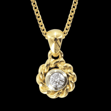 """Ladies Shipton and Co Exclusive 18ct Yellow and White Gold Diamond Rope Edge Pendant including a 16"""" 18ct Yellow Gold Franco Chain S07406DI"""