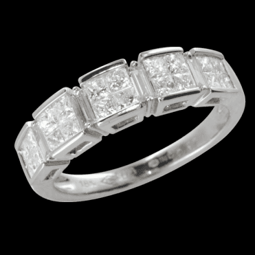 Ladies Shipton and Co Exclusive 18ct White Gold 2ct Square Set Diamond Half Eternity Ring TFL237DI