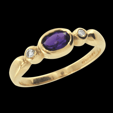 Ladies Shipton and Co Exclusive 9ct Yellow Gold Flush Set Amethyst and Dimaond Ring RYX080AM