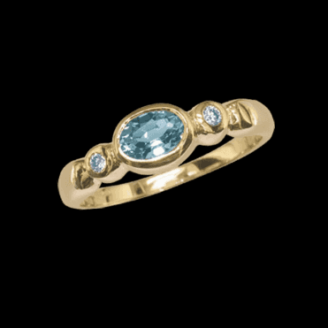 Ladies Shipton and Co Exclusive 9ct Yellow Gold and Flush Set Aquamarine and Diamond Ring RYX080AQ