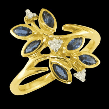 Ladies Shipton and Co Exclusive 9ct Yellow Gold Marquise Blue Sapphire and Diamond Foloral Spray Ring RYD033BSD