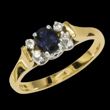 Ladies Shipton and Co Exclusive 9ct Yellow Gold and Blue Sapphire Ring RYX072BS