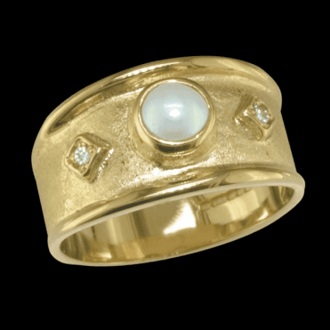 Medieval Court Ring of Pearl & Diamonds