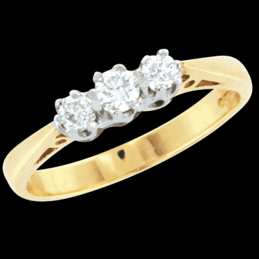 Classic 9ct Gold a 3 Diamond Ring