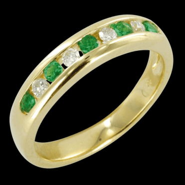 The Hamptons Half Eternity Ring in Emerald & Diamond