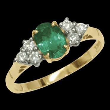 Ladies Shipton and Co Exclusive 9ct Yellow Gold Oval Emerald Ring with 6 Diamond on Shoulders RYX078EM