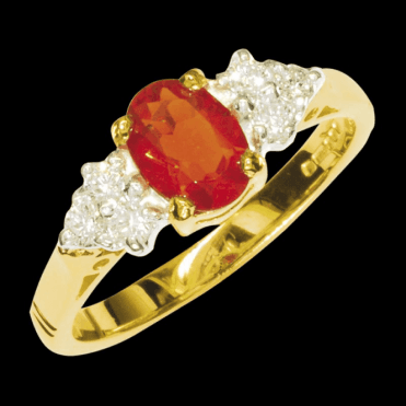 Ladies Shipton and Co Exclusive 9ct Yellow Gold Oval Fire Opal Ring with 6 Diamond on Shoulders RYX078FO